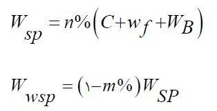مقدار فوق روان کننده مورد نیاز Wspو مقدار آب موجود در فوق روان کننده Wwsp