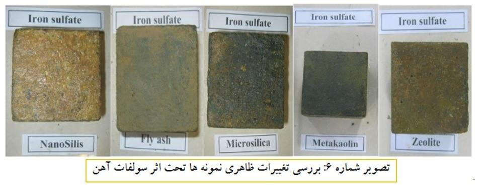بررسی تغییرات ظاهری نمونه ها تحت اثر سولفات آهن - حمله ی سولفات ها در بتن