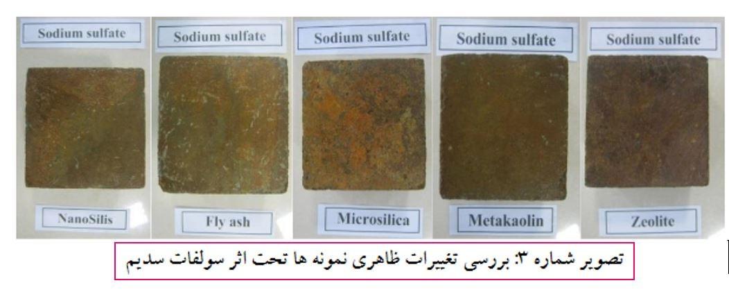 بررسی تغییرات ظاهری نمونه ها تحت اثر سولفات سدیم - حمله ی سولفات ها در بتن