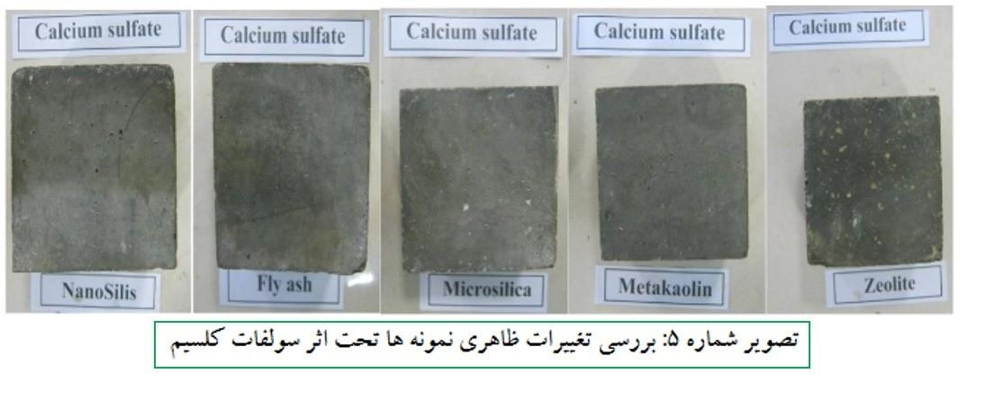 بررسی تغییرات ظاهری نمونه ها تحت اثر سولفات کلسیم - حمله ی سولفات ها در بتن